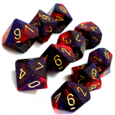 Purple & Red Gemini D10 Ten Sided Dice Set